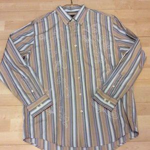 Tasso Elba Men's Blue Embroidered Striped Shirt